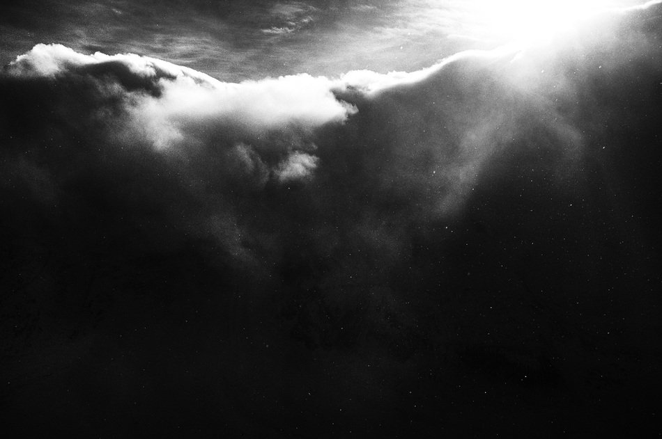 Black and white photo of clouds