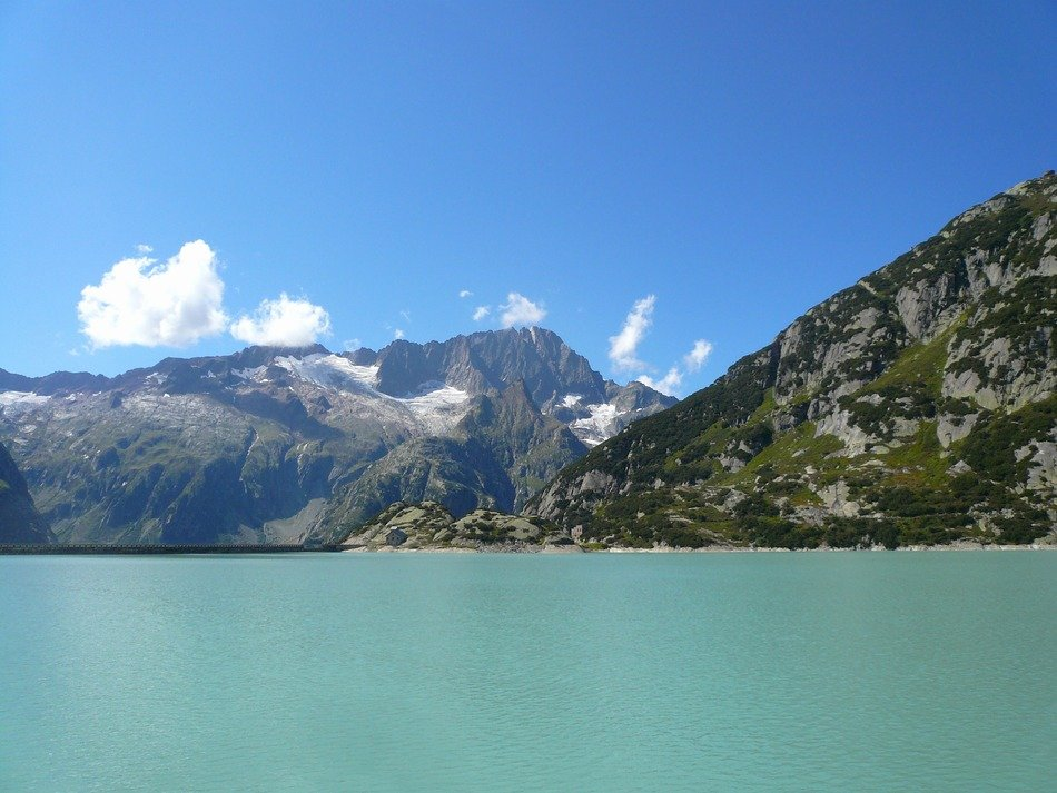 glacier lake at mountains, switzerland