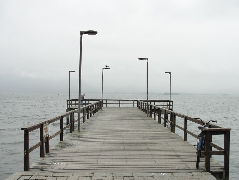 pier at foggy ocean, brazil, Santa Catarina