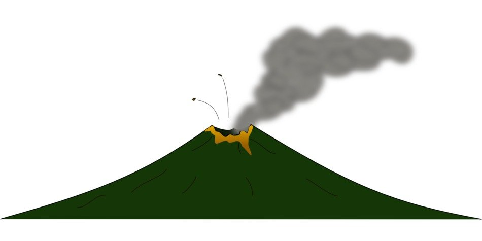 drawing of volcano eruption