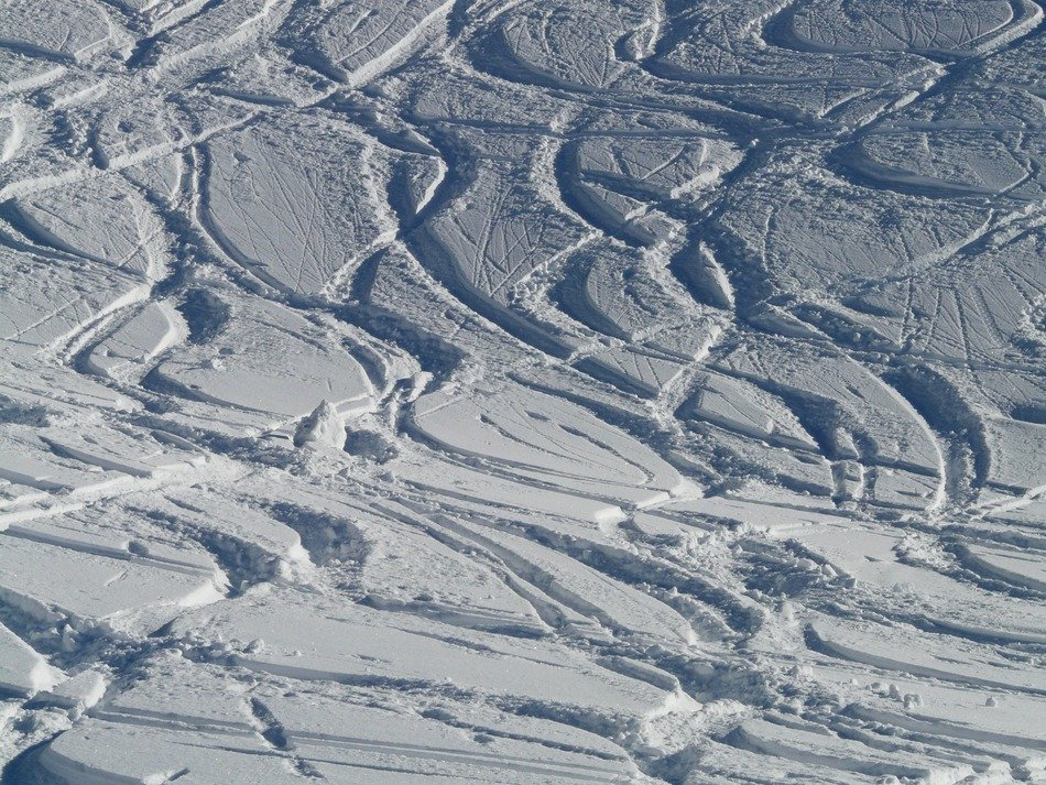 traces of the skis on the snow