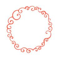 Hand drawn curly doodle frame Template for your design N2