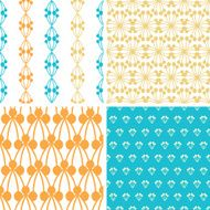 Four abstract blue yellow berry shapes seamless patterns set
