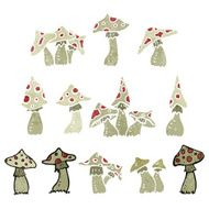 retro cartoon toadstools and mushrooms
