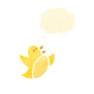 retro cartoon bird with thought bubble N10