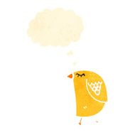 retro cartoon yellow bird