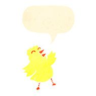 retro cartoon chick with speech bubble