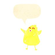 retro cartoon chick with speech bubble N2
