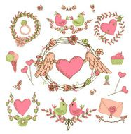 Vintage frames and hand-drawn Love decorative elements N8