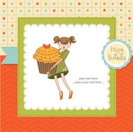 Happy Birthday card with girl and cup cake N18