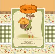 Happy Birthday card with girl and cup cake N20