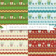 Set of four seamless christmas pattern