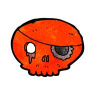 cartoon skull with pirate eye patch N5