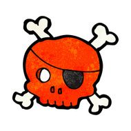 cartoon skull with pirate eye patch N6