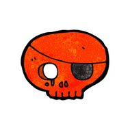 cartoon skull with pirate eye patch N7