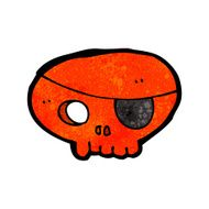 cartoon skull with pirate eye patch N8
