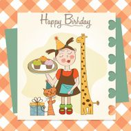 Happy Birthday card with funny girl animals and cupcakes N2