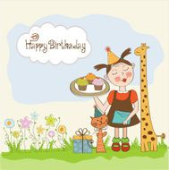 Happy Birthday card with funny girl animals and cupcakes N8