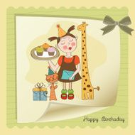 Happy Birthday card with funny girl animals and cupcakes N9