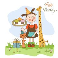 Happy Birthday card with funny girl animals and cupcakes N10