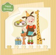 Happy Birthday card with funny girl animals and cupcakes N11