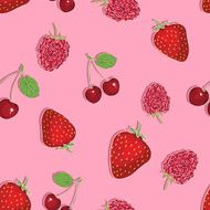 vector seamless pattern of berries on pink background