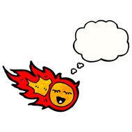 cartoon fireball with thought bubble N3