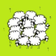 Funny sheeps on meadow sketch for your design N2