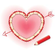 Pencil shavings in Shape of Love Heart with Cupid's Arrow N2