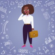 Business woman vector background with doodle drawings