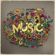 Music hand lettering and doodles elements background N4