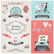 set of vector vintage wedding invitation design elements N6