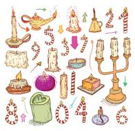 collection of candles candles icons drawn vector illustration N2