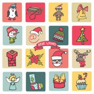 Christmas new year icons button set Colored Doodle