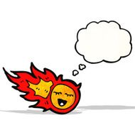 cartoon fireball with thought bubble N5