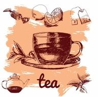 Hand drawn sketch vector tea set N22