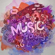 Music hand lettering and doodles elements N3