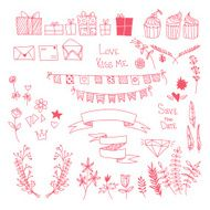 Hand-drawn vector set design elements label collection N2