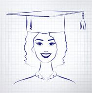 Student girl wearing graduation hat