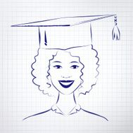 Student girl wearing graduation hat N2