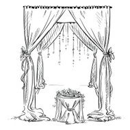 Wedding arch altar Decoration Vector sketch Design element