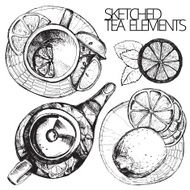 Hand drawn sketch vector tea set N26