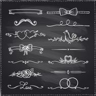 Chalkboard hand drawn graphic elements