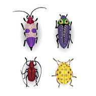 Colorful vector drawing of small beetles N2