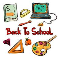 Back to school education icons cartoon set N9
