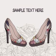 Vector background with an elegant pair of women's shoes