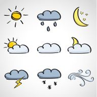 Ink style sketch set - weather icons N2