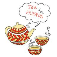 Doodle background - Tea for friends (vector)