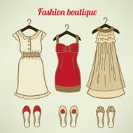 Fashion collection Dresses and shoes