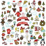 Christmas new year icons set Colored Doodle sketchy N4